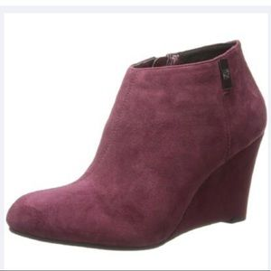 Anne Klein Trumble Suede Wedge Ankle Booties